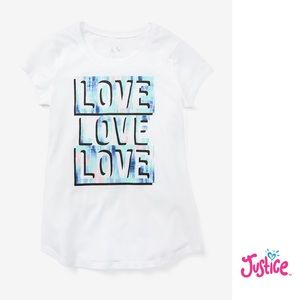 """NWT Justice Girls White """"LOVE"""" Graphics T-Shirt 8"""